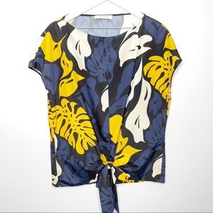 Cedric Charlier Yellow Leaf Tie Front Blouse
